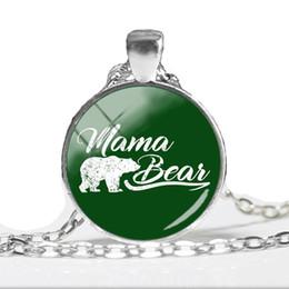 Pendente di nuovo arrivo della madre online-2018 Nuovo arrivo Mama Bear collana pendente Cartoon pittura gioielli cupola di vetro ciondoli regali per le madri catena fatta a mano