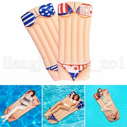 Wholesale air fun - 180*80cm Inflatable Air Mat Floating Lounge Bikini Design Pool Row Water Beach Swimming Pool Float Summer Fun LJJN237