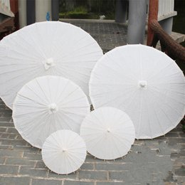 Wholesale Umbrella White - 2017 bridal wedding parasols White paper umbrellas Chinese mini craft umbrella Diameter 20 30 40 60cm wedding umbrellas for wholesale