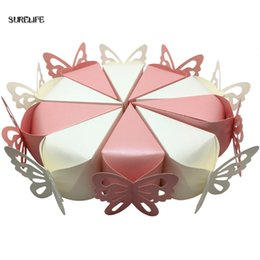 Wholesale Card Cake Boxes - 100 pcs Creative Sweet Butterfly Cake Candy Boxes + Flower + Card Wedding Gifts Favor Boxes For Guests Wedding Souvenir