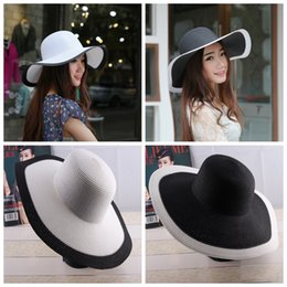 Wholesale Fold Sun Hats - Outdoor ladies Sun Hat Black and white stripes summer hat Folded Sun Protection beach sunscreen straw hat LJJG23