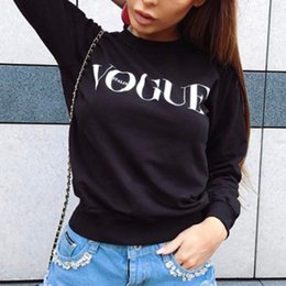 korean winter sweatshirt Promo Codes - Fashion VOGUE Printed BTS Sweatshirt Women Hoodies Korean Pullover Harajuku Autumn Winter Sweatshirts Hip Hop Casual White Top