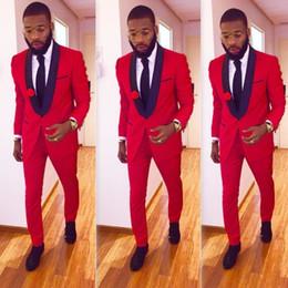 Wholesale Two Piece Bridegroom Suit - Custom Made Slim Fit Black Lapel Red Groom Tuxedos Men's Wedding Prom Suits With Pants Bridegroom Groomsman Best Man Suits