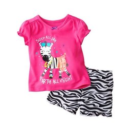 Argentina Zebra Girls Pyjamas Sets 2-7years Traje de la ropa de las muchachas Summer Short Sleeve Camisetas Tops Short Pant Set 100% ropa de dormir de algodón cheap zebra pant suit Suministro