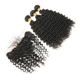 Pièces de fermeture à cheveux pas chères en Ligne-13x4 dentelle frontale fermeture mongole cheveux vierges vague profonde 3 Bundles mongole vague profonde avec fermeture frontale pas cher cheveux humains livraison gratuite