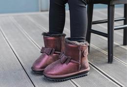 Wholesale girls flat boots - 2017 children's shoes winter girls snow boots new children's snow boots real Mao Princess cotton winter boots