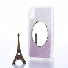 Wholesale iphone cover mirror bling - Bling Glitter Diamond Mirror TPU Case Rhinestone Gradient Cover For iPhone X 8 7 6s Plus Samsung S9 S8 Plus Note8 LG Stylu3 Huawei OPP Aicoo