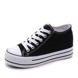 6 cm Mujeres Zapatillas de deporte de Fondo Grueso Denim Wedge Zapatos de Lona Femeninos Para Mujeres Zapatillas de Plataforma Beatherable Mujer Zapatos Casuales Blanco desde fabricantes