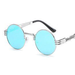 4f533cb7159 2018 New Hot Fashion Metal Steampunk Sunglasses Women Brand Designer Unique  Men Gothic Sun glasses Vintage round Sunglasses retro