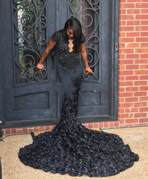 Wholesale girls short natural pageant dresses - Elegent Scalloped Queen Anne Neck Black 3D Rosette Mermaid Prom Dresses 2018 African Black Girls Long Train Pageant Prom Gowns