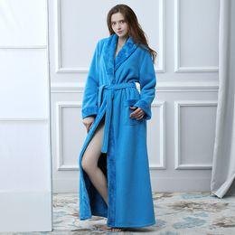 5d8a32f26f Winter Women Bathrobe Hooded Men Autumn Thick Warm Towel Fleece Sleepwear  Long Robe Hotel Spa soft Long Nightgown Kimono robe discount long fleece  nightgown