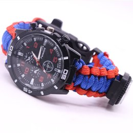 Wholesale Thermometer Bracelet - High Quality 550 Outdoor Survival Watch Bracelet with Compass Paracord Thermometer Whistle free shipping can accept samll quantity
