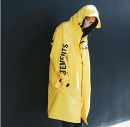 Männer für regenjacke online-Neue herren Vetements Regen Mantel Kanye West Bomberjacke Streetwear Lange Hoodies Männer Hip Hop Windjacke Übergroße Markenkleidung