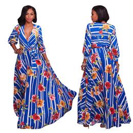 2019 amerikanisches indisches kleid Sari Frauen Indian Saree Winter 2017 Neue Amerikanische Standard Code Sind V Große Schaukel Hals Langarm Streifen Gedruckt Sexy Kleid rabatt amerikanisches indisches kleid