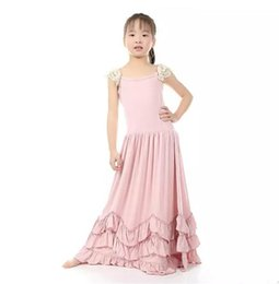 Wholesale kids maxi dresses - Christmas Sweet Kids Girls Ruffles Maxi Dress Lace Sleeve Pink Color Candy Fashion Dress Princess Party Dress B11