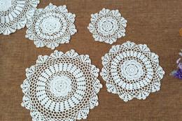 """2019 almofadas de vinil 20 cm 7.8 """"bege branco feito à mão crochet doily placemat coasters tapetes modernos lugar frete grátis"""