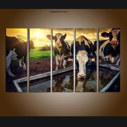 2019 marcos digitales rosa Grande 5 Panel Set Moderno Contemporáneo Lienzo de Pared de Arte de la Pintura de Impresión Vaca Paisaje Sunrise Pictures Lienzo de la Sala Decoración Para El Hogar ASet069