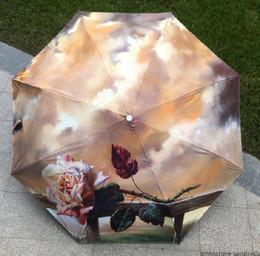 Wholesale Light Pink Coats For Women - Famous Rose Van Gogh painting women rain umbrella three folding paraguas for femal and men with black coating
