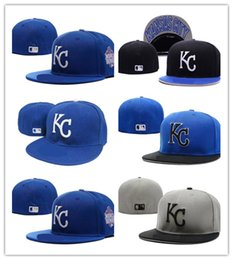 Wholesale Cheap Fitted Caps Free Shipping - New Hot free shipping best quality 2018 Cheap KC letter Fitted Hats embroidery baseball cap flat-brim hat team size baseball cap