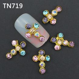 Glitter fornecedores on-line-10 pcs Colorido Glitter 3d Cruz Decorações Da Arte Do Prego com Strass, Liga de Unhas Encantos Jóias para Ferramentas Fornecedores TN719