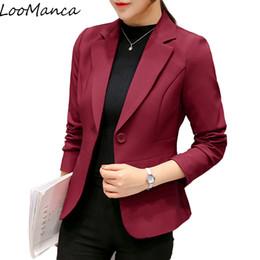 dd859a8eb9f Chaqueta de las mujeres ocasionales chaqueta traje de negocios de manga  larga vino rojo chaquetas femeninas elegante Bleiser Mujer 2018 Ladies  Coats ...
