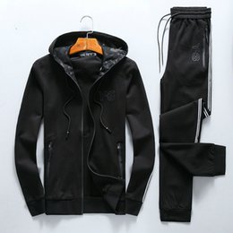 Wholesale Man Fund - Autumn And Winter Tide Brand Man Leisure Time Long Sleeve Cardigan Even Two Cap Paper Set Korean Self-cultivation Fund Trend Suit Male