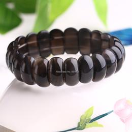 Elástico transparente on-line-Bonito Natural Claro Faixa de Obsidiana Beads Gem Stone Sorte Trecho Elastic Pulseira Moda Jóias para homem mulher