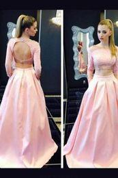 Длинные рукава вышитый бисером карманы платья онлайн-2019 выпускного вечера с длинным рукавом вечерние платья с карманами кристалл розовое ну вечеринку платье женщины онлайн вечерние платья вечернее платье Большой размер