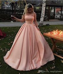 Blush prom nude sereia vestido on-line-2018 New Blush Rosa Sereia Vestidos de Noite Sexy Strapless Cetim Até O Chão Prom Vestidos Abendkleider Vestidos de Noite Vestido Formal