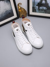 Wholesale dog bee - New arrival designer shoes leather casual high top white black bee tiger Gragon snake dog sneakers men women size