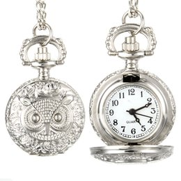Wholesale Vintage Owl Clocks - Fashion Men Women Vintage Quartz Pocket Watch Unisex Sweater Chain Watches Necklace Owl Pendant Clock Gifts LL@17