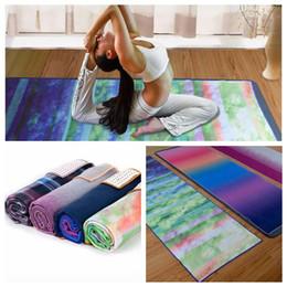 Wholesale Yoga Fitness Mat - 183*65cm Skidless Microfiber Yoga Mat Towel Silicon Brand New Non Slip Yoga Sport Fitness Exercise Pilates Blankets CCA8588 10pcs