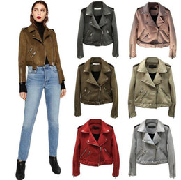 Wholesale Outwear Jacket Woman Leather - Women Suede Leather Jackets Short Motorcycle Jacket Basic Street Women Short PU Leather Jackets Outwear OOA4380