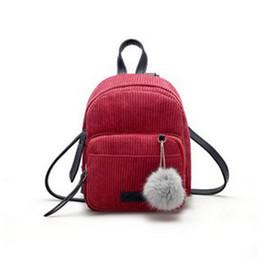 2018 New Style Fashion Women Solid Nappa Girl Small Mini Backpack Corduroy Zaino Daypack Borsa carina da viaggio cheap corduroy fashion backpack da zaino di modo del corduroy fornitori