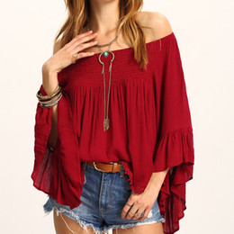 Wholesale Ladies Tops Butterfly Sleeve - Fashion Autumn 2018 Women Blouses Butterfly Sleeve Off Shoulder Shirts Ladies Slash Neck Lace Tassel Loose Casual Tops