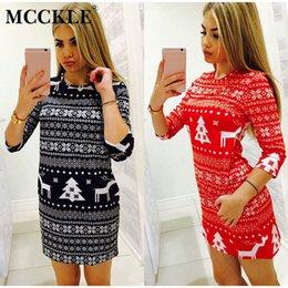 vestidos de suéter de navidad de las mujeres Rebajas MCCKLE Mujeres de Navidad Cálido de Punto Mini Vestido 2018 Ropa de Moda de Invierno Femenina Señoras Ciervos Impreso Suéter Pullover Vestido