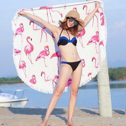 2019 übung bambus handtuch Flamingo-starker runder Badetuch-nette lustige große Microfiber Terry-Strand-Kreis-Picknick-Teppich-Yoga-Matte mit Franse-Decke für Frauen