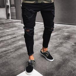 Erkekler Kot Streç Tahrip Ripped Tasarım Siyah Kalem Pantolon Ince Biker Pantolon Delik Kot Streetwear Yağma Pantolon nereden