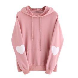 Canada Autruche gratuit 2018 Womens manches longues coeur Sweat à capuche Jumper Sweat à capuche Sweat à capuche Tops Rose Automne C1435 cheap pink heart top Offre