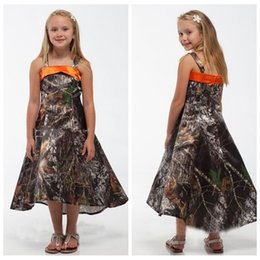 Wholesale Christmas Tree Cheap - 2018 Vintage Spaghetti Full Satin Camo Flower Girl Dresses High Low Cheap Sale Camouflage Real Tree Short Kids Formal Wear