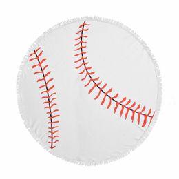 Couverture de pvc en Ligne-NOUVEAU diamètre 150 cm Baseball balle molle tapisserie serviette de plage couverture ronde avec plage de gland jeter Throw Sports Yoga Mat