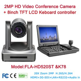 Wholesale Ip Controllers - Video Conference Camera System Kit 2MP 1080P HDSDI SDI IP 20X HD Onvif Video Live Media Cam + 8inch TFT LCD Keyboard controller
