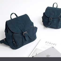 Wholesale Top Korean Backpack - 2018 Fashion Nubuck Leather Backpack Top Layer Leather Genuine Bag Mini Top Flap Knapsack High Quality Schoolbag Korean Casual Style Student