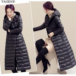 Wholesale Eiderdown Coat - 2017 Winter Coat Down jacket Women Winter jacket Long Hooded collar High quality Eiderdown cotton Warm coat Promotion YAGENZ A65