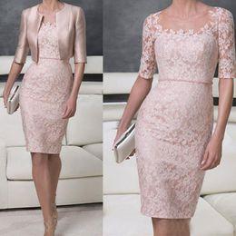 Wholesale Groom Belts - Vintage Lace Mother of the Bride Groom Dresses Scalloped Lace Sheer Neck Women Gowns Vestidos de Gala Belt Waist With Jacket Plus Size