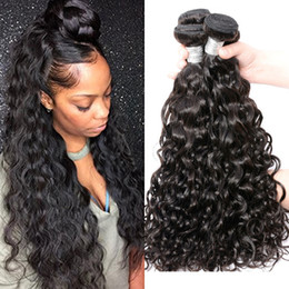 Wholesale Wavy Remy Human Hair Extensions - Unprocessed Remy human hair extension Water Wave Natural Color Wet and Wavy Brazilian Virgin Human hair Weave Bundles 7A Grade