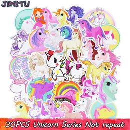 Wholesale Motorcycle Laptop - 30pcs lot Unicorn Stickers for Laptop Car Phone Luggage Bike Motorcycle Mixed Cartoon Pvc Waterproof Sticker Kids Room Decor BBA279