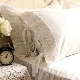 Wholesale Princess Pillow Cases - 2pcs European type romantic pillow case elegant embroidered pillowcase satin Crochet Lace cotton princess pillow cover no filler