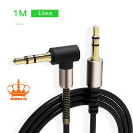 Wholesale Tablet Cords - 1M 3.5mm Stereo AUX Auxillary Bend Head Audio Male to Male Date Cable Cord For Speaker Computer Tablet Smart Device with Retail