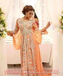 Elegant Kaftan Abaya Arabic Evening Dresses Beaded Sequins Appliques Chiffon  Long Formal Gowns Dubai Muslim Prom Dresses 51d904f1c41d